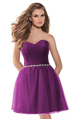 Aurora Mariée 2016 Tulle Robe De Demoiselle D'honneur De Perles Courte Robes De Bal Chérie Violet