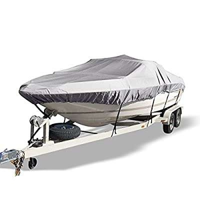 YITAMOTOR Waterproof Boat Cover All Seasons Outdoor Protector Aluminium Film Composite Cotton Fits V-Hull with Quick Release Buckle and Strap