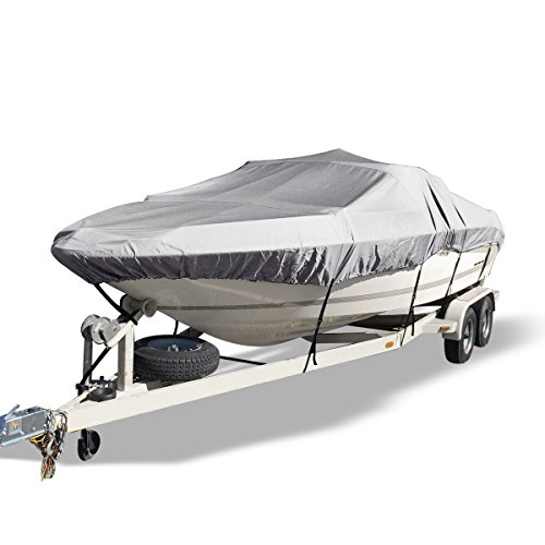 YITAMOTOR Waterproof Boat Cover All Seasons Outdoor Protector Aluminium Film Composite Cotton Compatible for V-Hull with Quick Release Buckle and Strap (Gray, Fit 14'-16'L x 90' Beam Width)