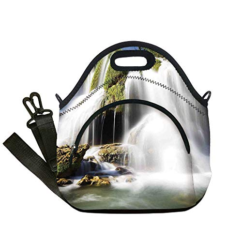Layered Waterfall Rock - Insulated Lunch Bag,Neoprene Lunch Tote Bags,Waterfall,Majestic Waterfall Flowing on Cliff Rocks in Rural Town Wild Nature Art Image,Green White,for Adults and children