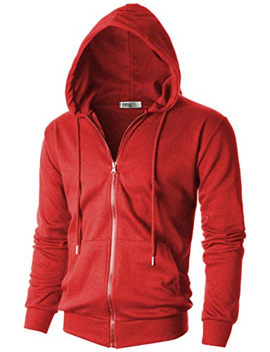 OHOO Mens Slim Fit Long Sleeve Lightweight One-Tone Zip-up Hoodie with Kanga ()