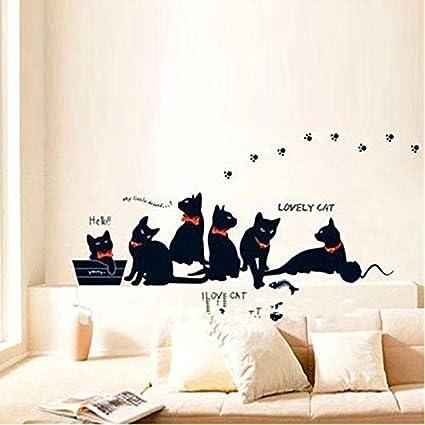 Mural ZOZOSO Pegatinas De Pared De Vinilo Papel Pintado Animal Dibujo Gato Negro Familia Sala De