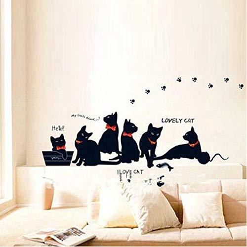 Mural ZOZOSO Pegatinas De Pared De Vinilo Papel Pintado Animal Dibujo Gato Negro Familia Sala De Estar Sofá Pared Calcomanías Casa Decoración Póster ...