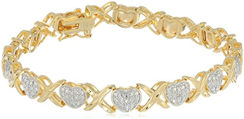18k Gold Plated Sterling Silver Two Tone Diamond Accent and Illusion XO Heart Bracelet, 7.5
