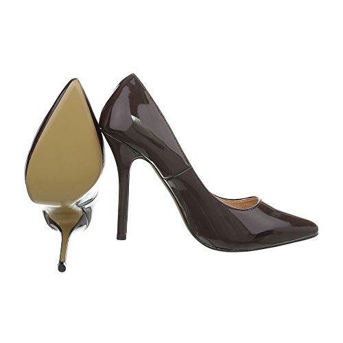 Ital-Design High Heel Pumps Damenschuhe Pfennig-/Stilettoabsatz Heels Dunkelbraun I9828