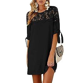 YOINS Women Mini Dresses Summer Sexy Lace T Shirt Tunics Self-tie Half Sleeves Solid Crew Neck Blouse Dresses Lace-Black XXL