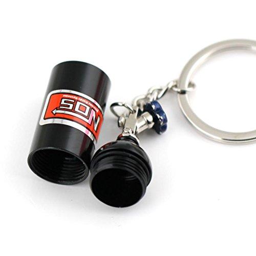 Maycom/® Creative New NOS Mini Nitrous Oxide Bottle Keyring Key Chain Ring Keyfob Stash Pill Box Storage Turbo Keychain Black