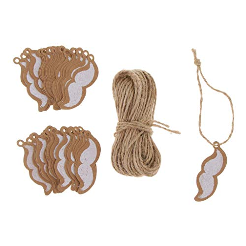 (100pcs Kraft Paper Tags Craft Tree Hanging Tags Gift Tags with Jute Twine for DIY Crafts Gift Tags Price Tags Labels - Mustache)
