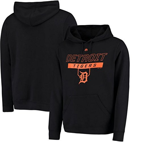 VF Detroit Tigers MLB Mens Majestic Ready and Able Pullover Fashion Hoodie Black Big & Tall Sizes (5XL)