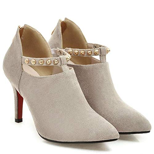 Top Top Top grigio 1 Low Moda Stivali Zanpa Pointed Shoes Shoes Shoes Cerniera Donne zpTwqnBxt