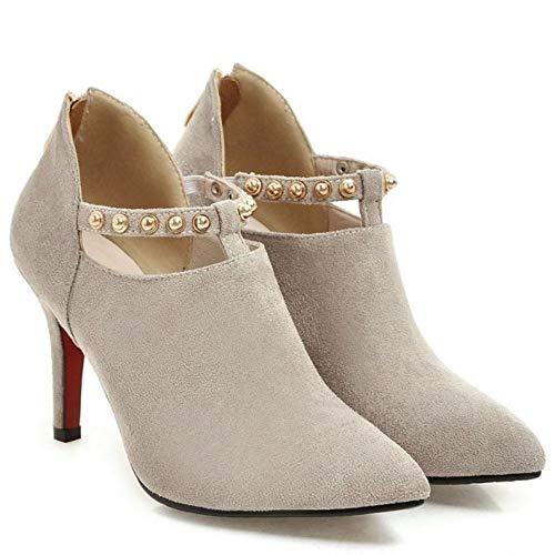 1 1 1 Low Donne grigio Top Top Top Stivali Cerniera Shoes Pointed Moda Zanpa w7qx48a4
