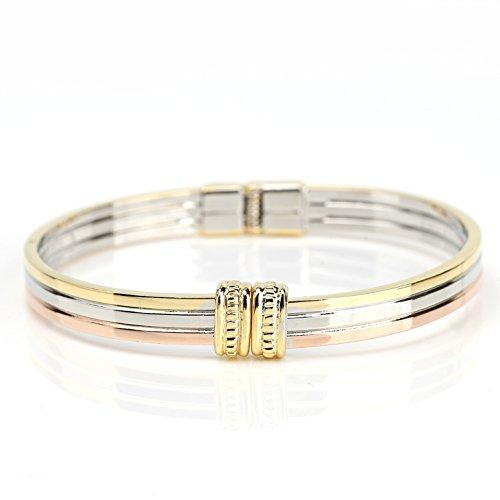 United Elegance - Sophisticated Tri-Color (Rose/Silver/Gold Tone) Hinged Bangle Bracelet (Rose Royal Spray)