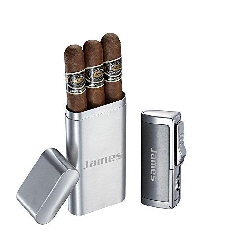 Visol Prato Brushed Stainless Steel 3 Finger Cigar Case and Visol Aleus Brushed Silver Triple Jet Cigar Lighter with Built-in Punch With Free Laser Engraving by Visol