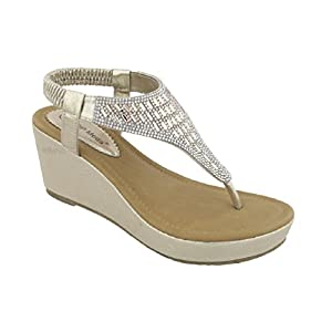 Top Moda OR-26 Women's Wedge Sandals (7.5, Champagne)