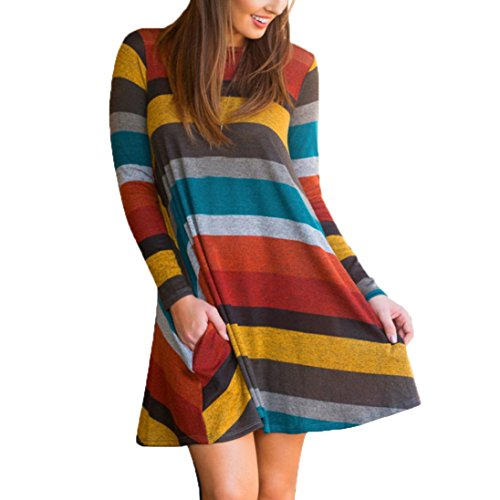 Women Dress, Gillberry Women's Long Sleeve Striped Printed Casual Swing Tunic Loose Dress (Yellow, (Womens Leather Scooter Striped Jacket)