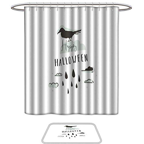 Set of 2 Shower Curtain and Mat SetHand drawn vector abstract cartoon Happy Halloween illustrations party design elements with raven and modern calligraphy quote Happy Halloween isolated on white -