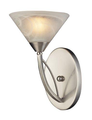 - Elk 7630/1 1-Light Wall Bracket in Satin Nickel and Marbleized White Glass
