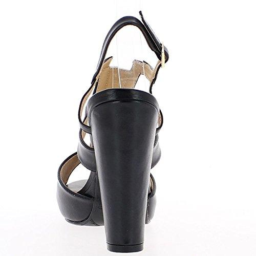 Sandalias grande bicolor blanco y negro en el tacón de 11,5 cm con plataforma de 2 cm