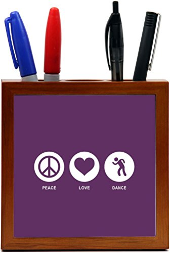 Rikki Knight Peace Love Dance Purple Color Design 5-Inch Tile Wooden Tile Pen Holder (RK-PH42444) by Rikki Knight (Image #1)