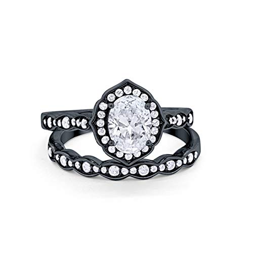 Blue Apple Co. Two Piece Art Deco Vintage Style Wedding Engagement Bridal Set Ring Band Oval Round Black Tone, Simulated Cubic Zirconia 925 Sterling Silver Size-6