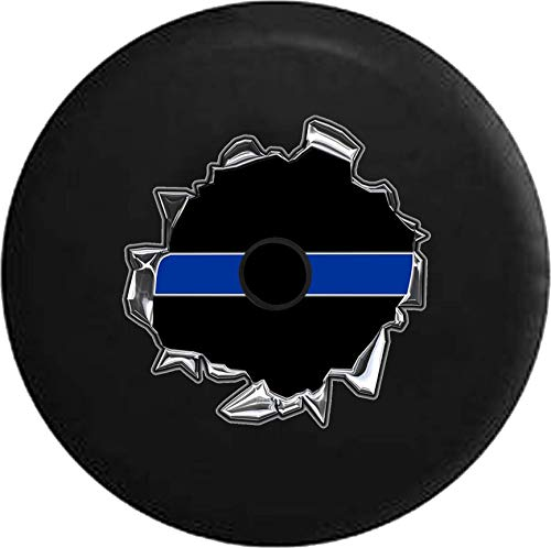 JL Series Jeep Spare Tire Cover Backup Camera Hole Thin Blue Line - Police Support Tearing Through Black 32 in -