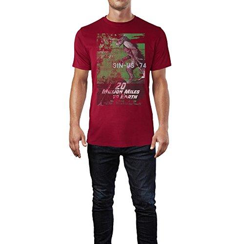 SINUS ART® 20 Million Miles To Earth Herren T-Shirts stilvolles dunkelrotes Cooles Fun Shirt mit tollen Aufdruck