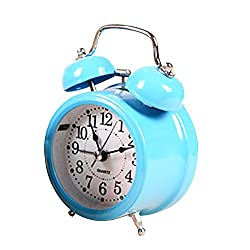 Jinberry 3 Vintage Twin Bell Alarm Clock with Night Light / Cute Retro Table Clock - Blue