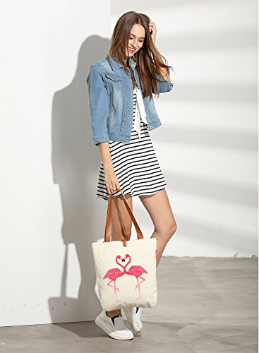 Handle Women's Graphic Top Animal Tote Canvas Bag Shoulder So'each Flamingo RXqwSqT