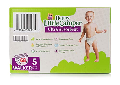 Premium Natural - Happy Little Camper Ultra Absorbent Premium Natural Diapers, Size 5, 68 Count