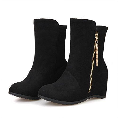 AmoonyFashion Womens Low-top Solid Zipper Round Closed Toe Kitten-Heels Boots Black wJQYFJBKR