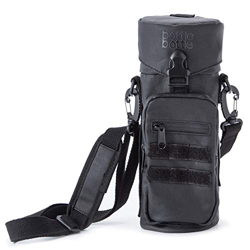 Water Bottle Holder Carrier Pouch Fits 12 to 40 oz Bottles, Tactical Molle Water Bottle Bag with Adjustable Padded Shoulder Strap and Pockets for Walking and - Walking Bag