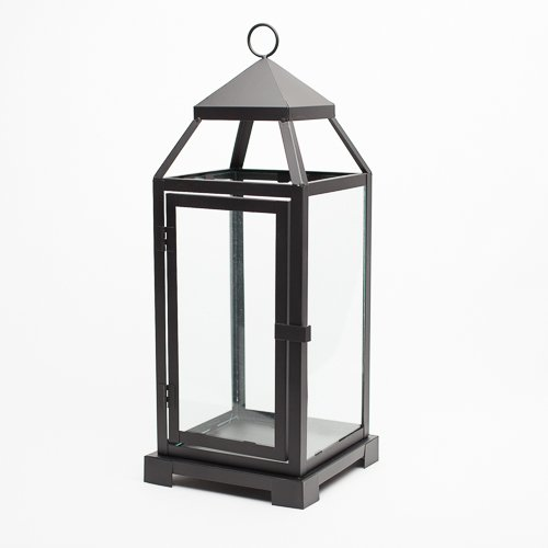 Richland Small Contemporary Metal Lantern Black Quick Candles 10018083