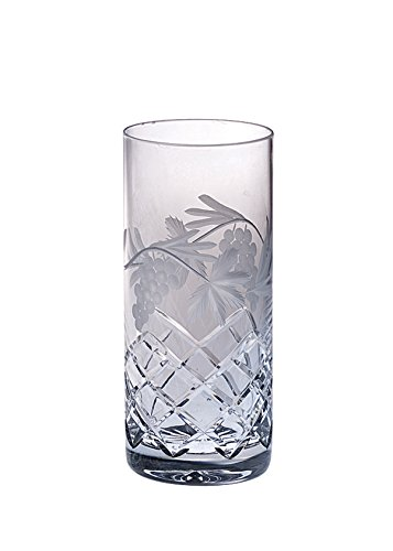 Barski - Hand Cut - Mouth Blown - Crystal - Hiball Tumbler - With Grapevine Design - Set of 4 - 14oz. - Made in Europe