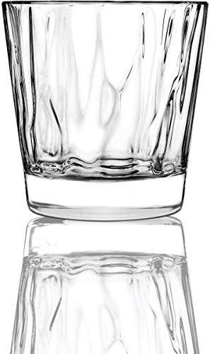 Circleware 45053 Velocity Double Old Fashioned Whiskey Glasses, Set of 4 Kitchen Drinking Glassware for Water, Juice, Ice Tea, Beer, Wine Bar Barrel Liquor Dining Decor Beverage Gifts, 12.5 oz,