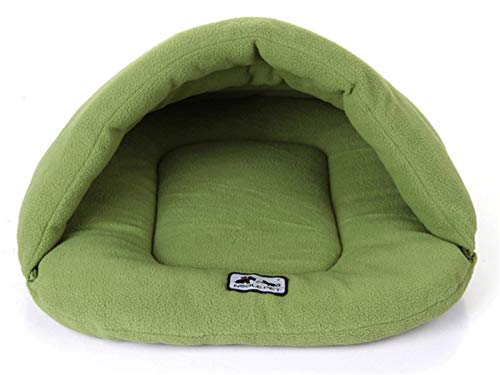 MoonyLI Pets Sleep Zone Cuddle Cave Pet Bed,Pets Cave Bed Half Covered Cuddle Cushion Kennel in Warm Comfortable Pouch for Cats Rabbit Puppy Green M (Cushion Pets Cuddle)