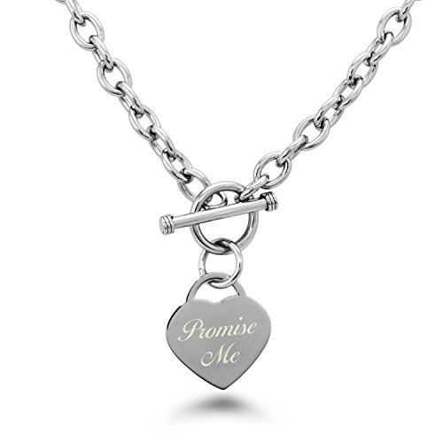 Stainless Steel Engraved Promise Me Heart Tag Charm - Tag Heart Necklace Engraved