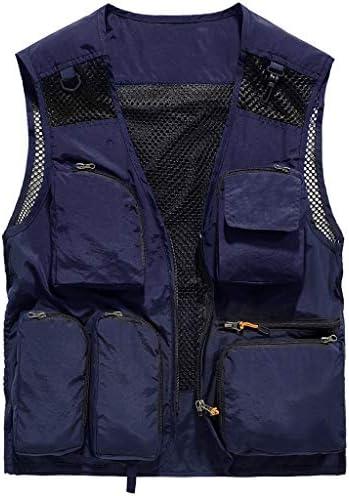 QIQIDEDIAN 釣りベスト ベスト夏マルチポケットベストメンズ薄いセクションメッシュ釣りベスト写真撮影作業服カジュアルコート (Size : 3XL)