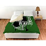 1 Piece Soccer Words Themed Design Duvet Cover Queen Size, Featuring Woven Graphic Printed Sports Inspired Comfortable Bedding, Contemporary Playful Unique Boys Bedroom Decoration, Green, Multicolor