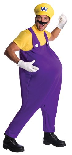 [Super Mario Brothers Adult Wario Costume, Standard Color, Standard] (1980s Movie Character Costumes)