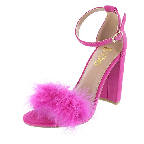 Brash Fuschia Suede Fuschia Fur Women's Houston Sandal 6.5 Regular