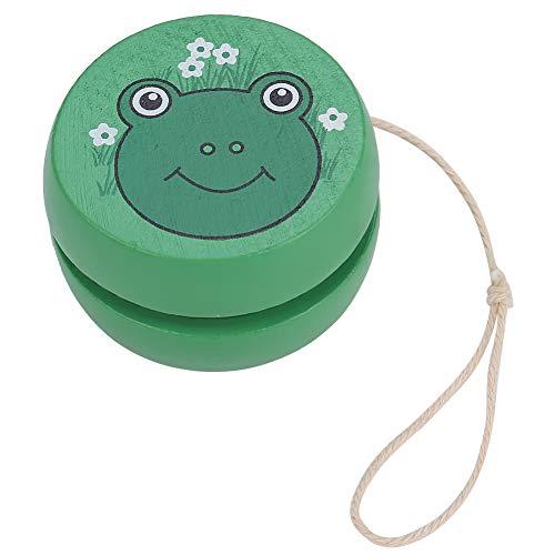 Zerodis Colorful Yo-yo Ball Toy Responsive Magic Cute Wooden Yo-yo Early Education Toy with Cartoon Pattern for Kid Child(Frog)