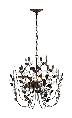 Crystal and Bronze Leaves Chandeliers Farmhouse Vintage Industrial Pendant Lighting Leaf-Shaped Hanging Lamp Ceiling Light Fixtures for Dining Rooms Living Room Bedrooms Kitchen for Valentines Day