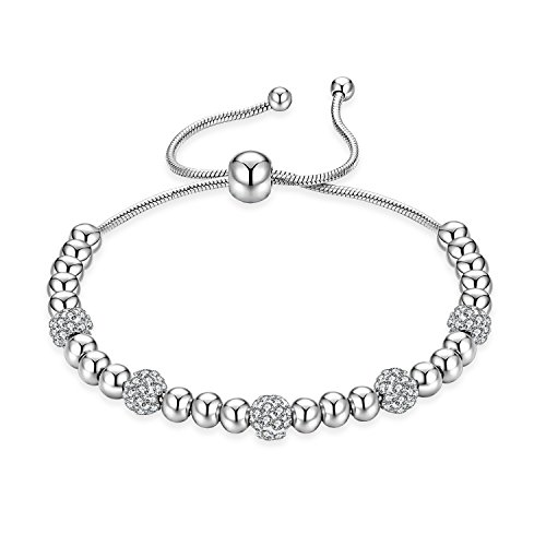 MONIYA Silver Tone Stainless Steel Adjustable Beads Bracelet with Sparkling Cubic Zirconia Stone for -