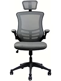 modern high back mesh executive chair with headrest and flip up arms color silver