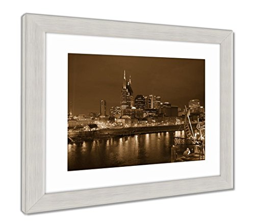 Framed Tn Nashville (Ashley Framed Prints Downtown Nashville Tennessee, Wall Art Home Decoration, Sepia, 34x40 (Frame Size), Silver Frame, AG6104065)