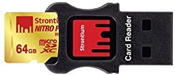 Strontium Nitro Plus 64GB MicroSDXC UHS-1(U3) Memory Card with Adapter and Card Reader Up to 95MB/s (SRP64GTFU1C)