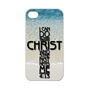I can do all things through Christ who strengthens me - Philippians 4:13 - Bible verse Back Case Durable Rubber TPU Laser Technology For iPhone 4,4s