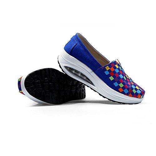 Womens Vakna Sneakers Halka På Grid Andas Canvas Vakna Skor Av Btrada Blå