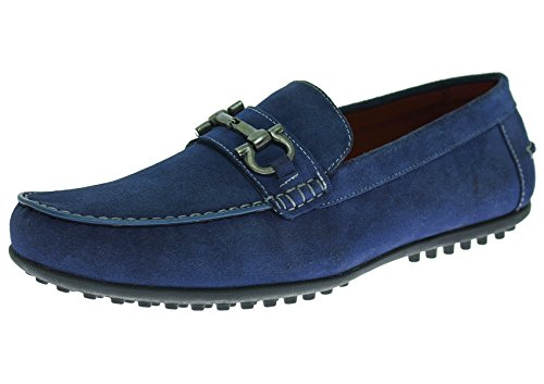 [Natazzi Mens Suede Leather Shoe Kimo Slip-On Driving Moccasin (42.5 M EU / 9.5 D(M) US, Blue)] (Italian Suede Penny Loafer)