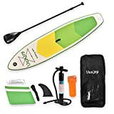 Uenjoy 11' Inflatable Stand Up Paddle Board (6 Inches Thick) Non-Slip Deck Adjustable Paddle Backpack,Pump, Repairing kit, Green